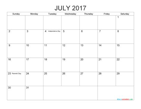 printable  calendar templates july  png