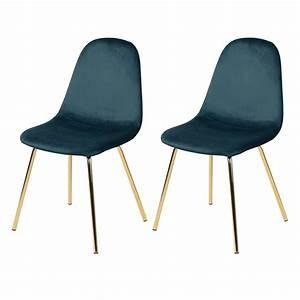 Chaise Velours Bleu : chaise skuli en velours bleu lot de 2 d couvrez les chaises skuli en velours bleu rdv d co ~ Teatrodelosmanantiales.com Idées de Décoration