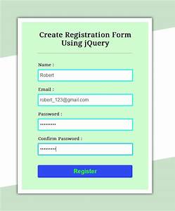 Create simple registration form using jquery formget for User creation form template