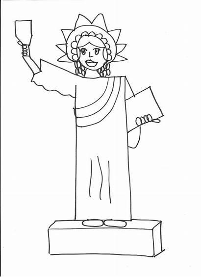 Liberty Statue Draw Graders Drawing Outside Kindergarten