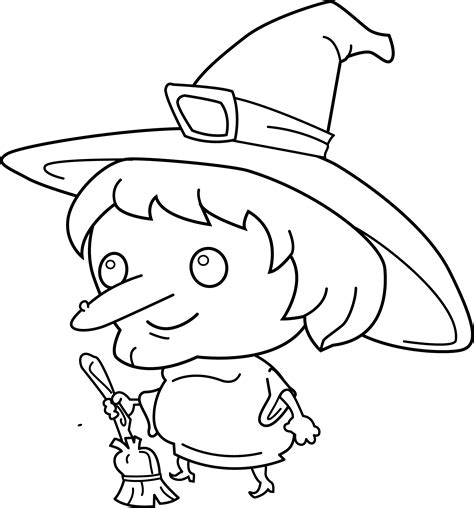 cute witch coloring page  clip art