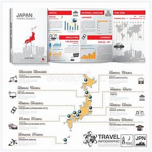 Japan Travel Guide Book Business Infographic With Map