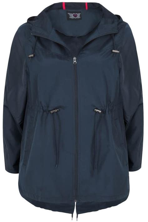 parka pocket jacket navy hood shower resistant plus jackets