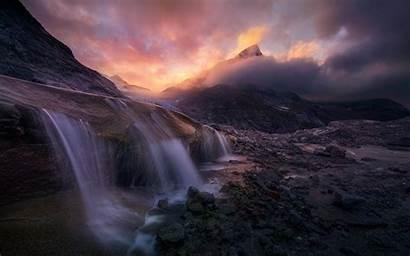 Sunrise Alaska Clouds Waterfall Mountain Exposure Storm