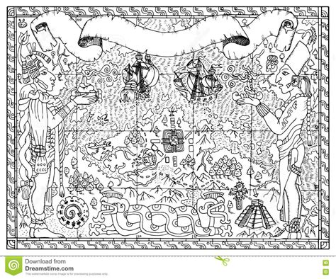 Temple Of The Aztecs. Vector Drawing Vector Illustration