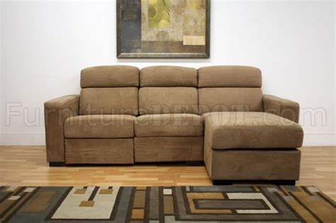 Tan Microfiber Modern Reclining Sectional Sofa W/storage