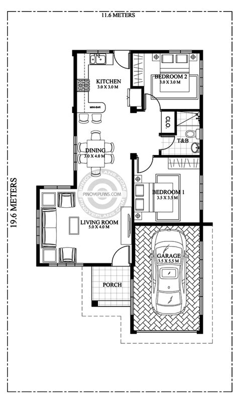 3 bedroom small house plans pia confidently beautiful 2 bedroom house plan pinoy eplans 17992 | SHD 2017029 Floor Plan