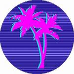 Vaporwave Aesthetic Transparent Vapor Palm Sun Tree