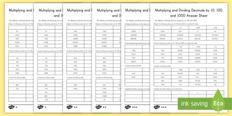 multiplying and dividing decimals by 10 100 and 1000 differentiated