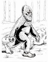 Bigfoot Coloring Pages Cryptozoology sketch template