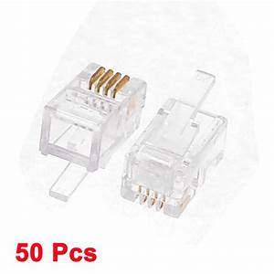 4p4c Rj11 Plug Jack Connector Clear For Telephone Cable Wire Cheap Network Cables Computer