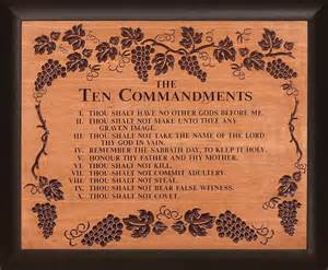 christian gift baskets 10 commandments cherry wood framed carving lordsart