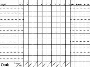 baseball scoresheet With baseball box score template