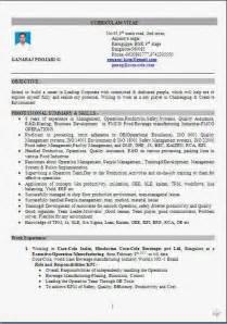 fmcg resume format sle best resume format free