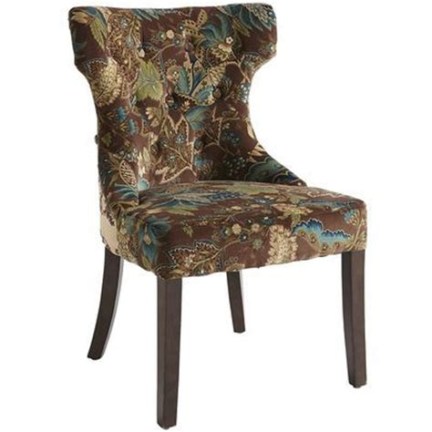 Hourglass Dining Chair Smoke Blue Damask by Hourglass Dining Chair Peacock Floral Back Side Is