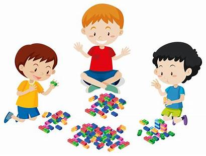 Lego Playing Boys Background Vector Clipart Plastic