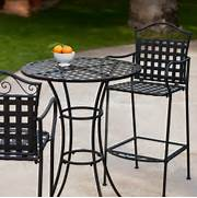 Patio Furniture Pub Table Sets of Coral Coast Capri Woven Wrought Iron Bar Height Bistro Set At Hayneedle