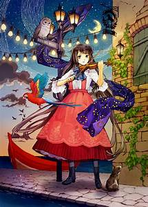 Anime, Girl, Bird, Blue, Eyes, Boots, Brown, Hair, Cat, Dress, Long, Hair, Moon, Night, Sky