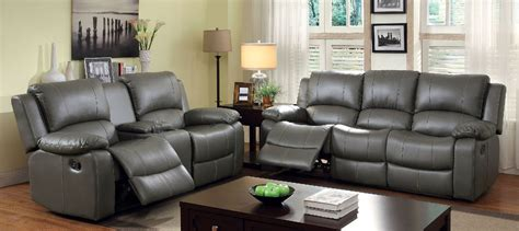 Gray Reclining Loveseat by 2 Pc Furniture Of America Sarles Collection Gray Reclining
