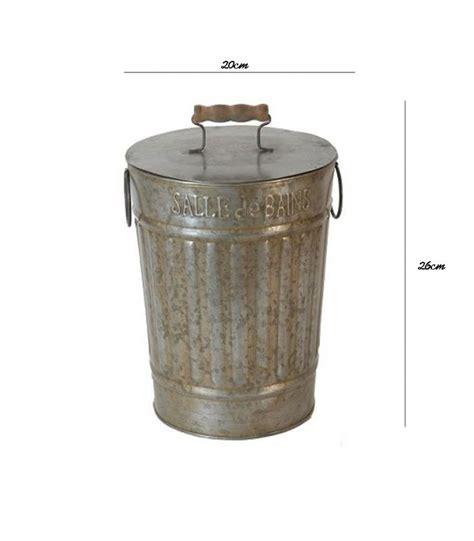 poubelle de salle de bain 224 l ancienne en zinc et bois wadiga
