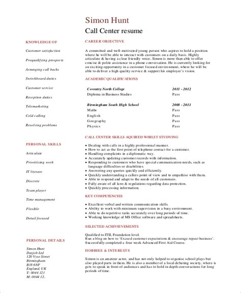 Call Center Objectives by Sle Objective For Resume 10 Exles In Word Pdf