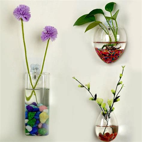 Hanging Wall Vase - wall vase glass bottle hydroponic plants flower clear