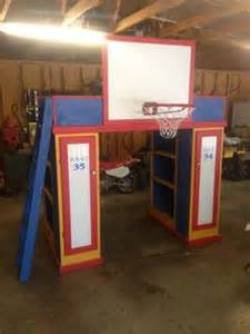 loft bed with 2 bookcases 2 lockers ladder and basketball