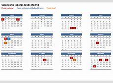 Calendario laboral 2018 de la Comunidad de Madrid SAN