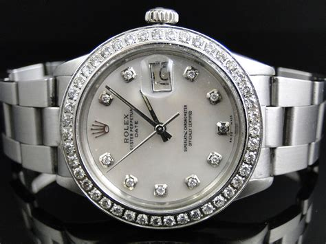Mens Stainless Steel Rolex Datejust Watch with 2.15 Ct ...