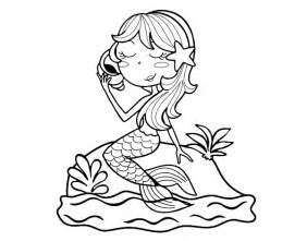 Mermaid Sitting On Rock Coloring Pages