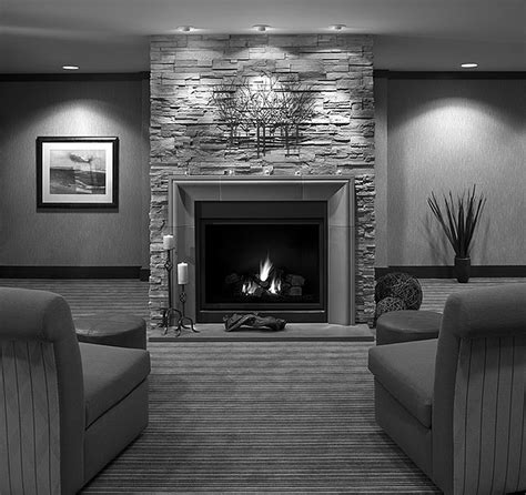 Grey Stone Fireplace With Grey Wooden Fireplace Mantels