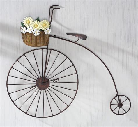 """Wall hangings are anything that you put on your wall that hangs down artistically and creatively. Old Fashioned Iron Penny Farthing Bicycle Metal Wall Art 25"""" x 22"""" NEW 