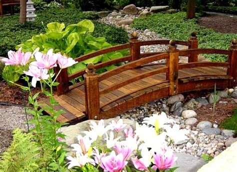 decorative wooden bridge in the garden