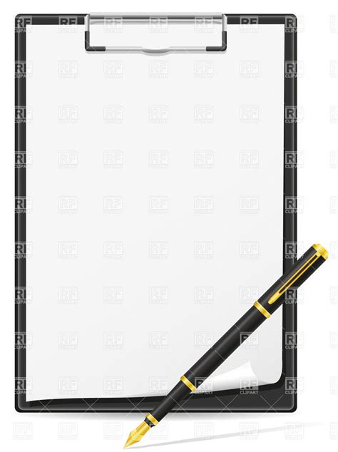 clipboard and pen clipart clipboard blank sheet of paper and pen vector image
