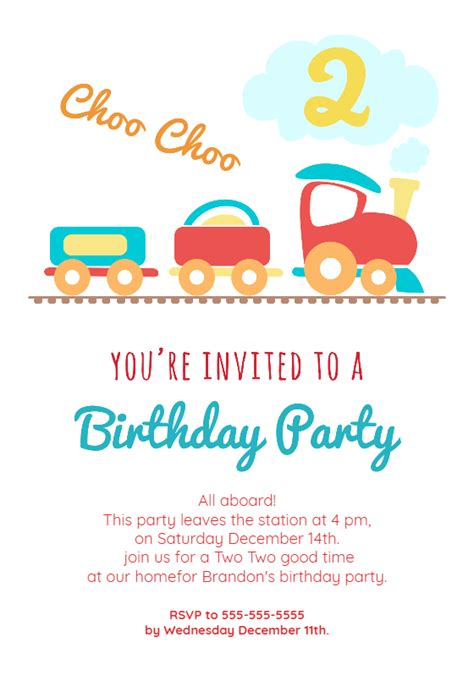 birthday party train birthday invitation template