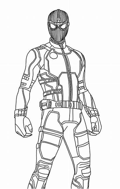 Coloring Spiderman Suit Spider Far Stealth Superhero