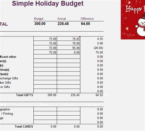simple holiday budget sheet  excel templates