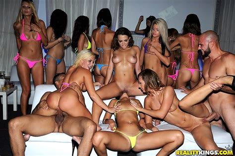 XXX pictures - Hot bikini babes get it on in vip club orgy eating pussy and getting at ...