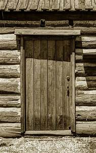 Pioneer Log Cabin Door - Close-up Photograph by Gary Whitton