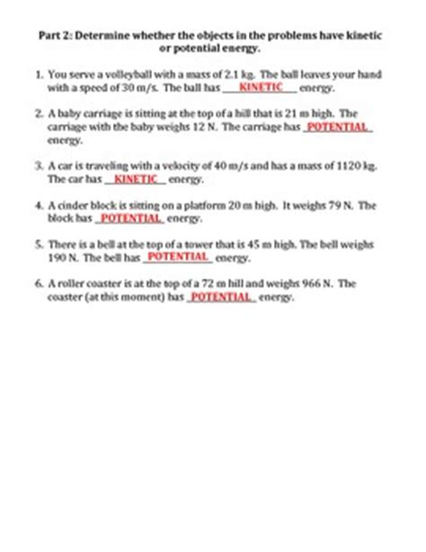 worksheet kinetic vs potential energy by travis terry tpt