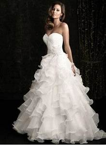 ball gown strapless sweetheart chapel train organza With cascading ruffles wedding dress