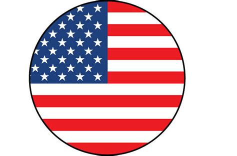 5 X Usa / American Flag Filled In A Circle Shape Sticker