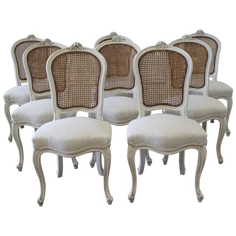 set of eight vintage painted back dining