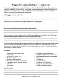 Depression Worksheet Triggers And Coping Strategies For Depression Worksheet Psychpoint