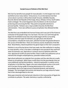Sample Essay On Pollution Of The Nile River