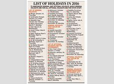 Telangana releases 2016 list of holidays