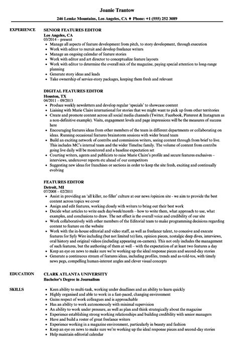 Resume Features by Features Editor Resume Sles Velvet