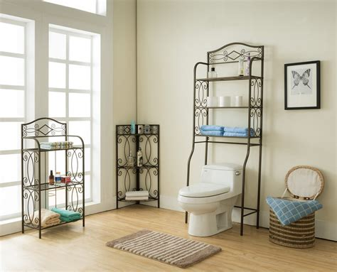 Pewter Metal 3 Tier Over The Toilet Storage Etagere