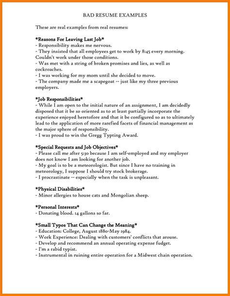 resume bad 28 images 3 bad resume exle mailroom clerk