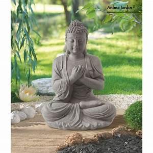 Statue De Jardin En Résine : statue buddha 60 cm en fibre de verre aspect pierre ~ Dailycaller-alerts.com Idées de Décoration